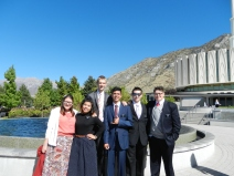 Elder Saunders and his district at the Provo Temple.